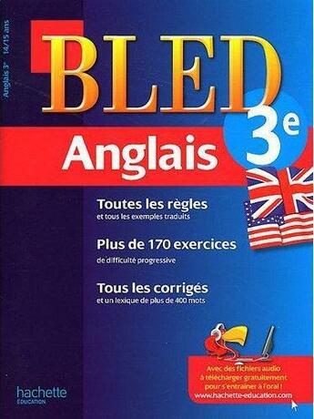Couverture du livre « CAHIERS BLED ; anglais ; 3ème » de Collectif aux éditions Hachette Education