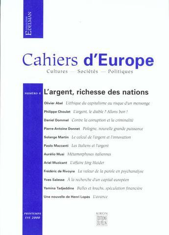 Couverture du livre « Cahiers d' europe n 4 » de Collectif aux éditions Felin