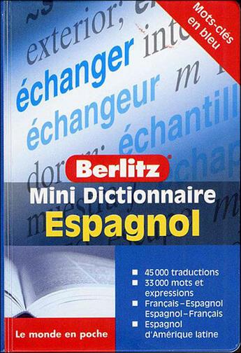 Couverture du livre « Espagnol mini dictionnaire en francais » de Collectif aux éditions Berlitz