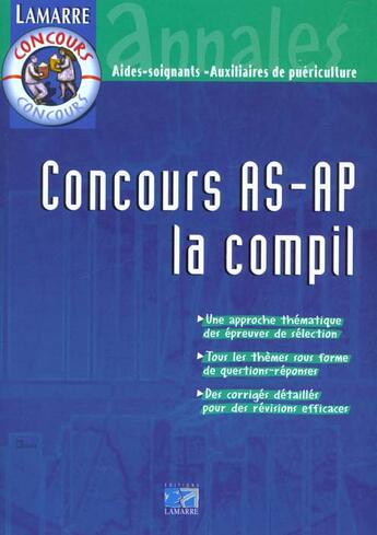 Couverture du livre « Concours as/ap la compil » de Panaget aux éditions Lamarre