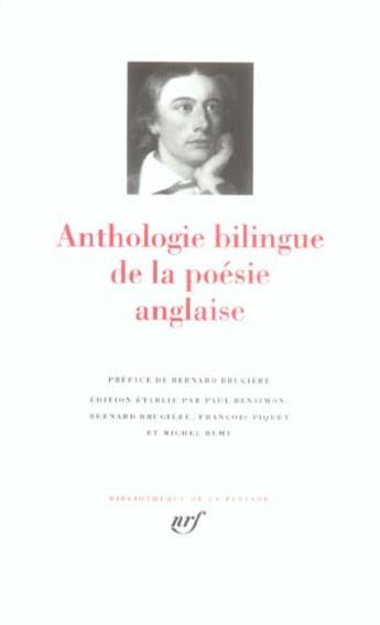 Couverture du livre « Anthologie bilingue de la poésie anglaise » de Collectif aux éditions Gallimard