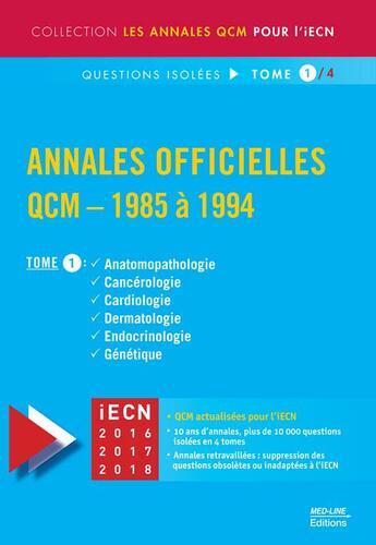 Couverture du livre « Annales officielles ; QCM (édition 1985/1994) t.1 » de David Perrot aux éditions Med-line