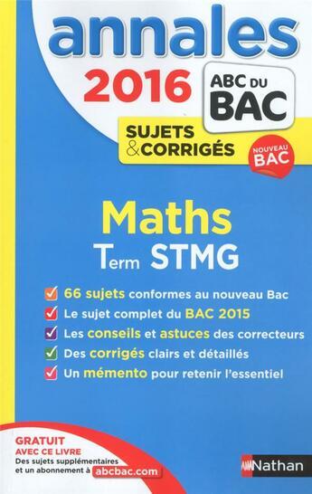 Couverture du livre « 2016 ; maths ; Term STMG » de Michel Poncy aux éditions Nathan