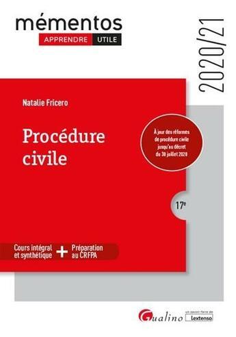 Couverture du livre « Procédure civile (édition 2020/2021) » de Natalie Fricero aux éditions Gualino