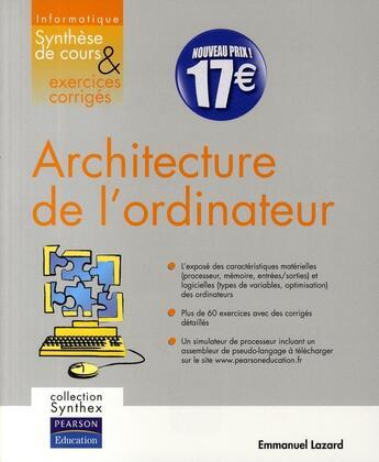 Couverture du livre « Synthex ; Architecture De L'Ordinateur » de Emmanuel Lazard aux éditions Pearson