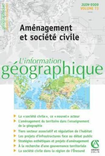 Couverture du livre « Aménagement et société civile » de  aux éditions Armand Colin