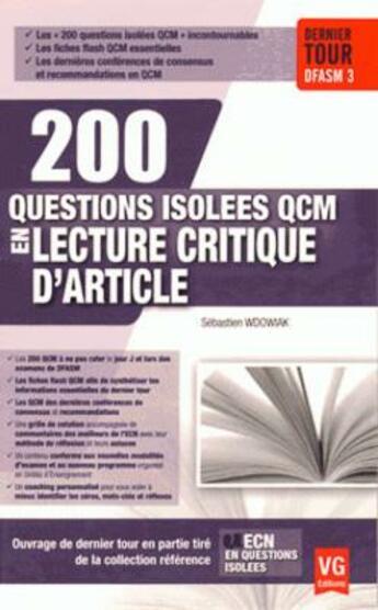 Couverture du livre « 200 Questions Isolees Qcm Lca » de S. Wdowiak aux éditions Vernazobres Grego