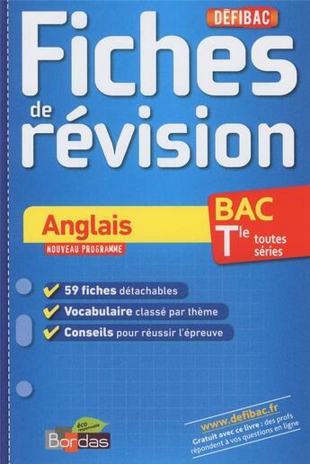 Couverture du livre « Anglais ; terminale toutes séries ; fiches de révision » de Nicole Gandilhon aux éditions Bordas