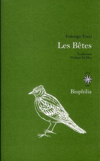 Couverture du livre « Les bêtes » de Federigo Tozzi aux éditions Corti