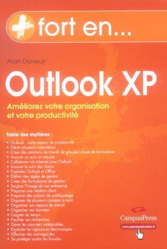 Couverture du livre « Outlook xp » de Alain Dorseuil aux éditions Pearson
