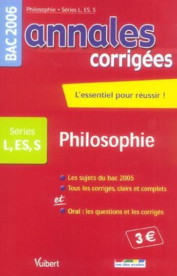 Couverture du livre « Annales Corrigees T.5 ; Philosophie Terminale L/Es/S » de Collectif aux éditions Rue Des Ecoles