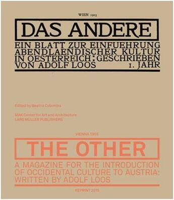 Couverture du livre « Adolf Loos The Other /Anglais/Allemand » de Adolf Loos aux éditions Lars Muller