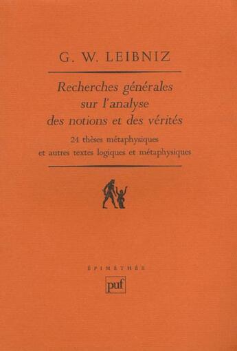 Couverture du livre « Recherches gener.sur analyse notions » de Leibniz Gottfried-Wi aux éditions Puf