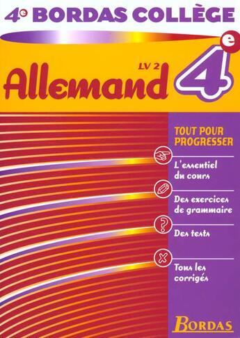 Couverture du livre « Allemand 4e ; Lv2 » de Collectif aux éditions Bordas