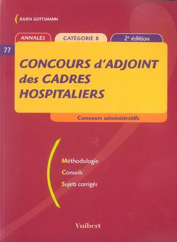 Couverture du livre « Concours D'Adjoint Des Cadres Hospitaliers » de Julien Gottsmann aux éditions Vuibert