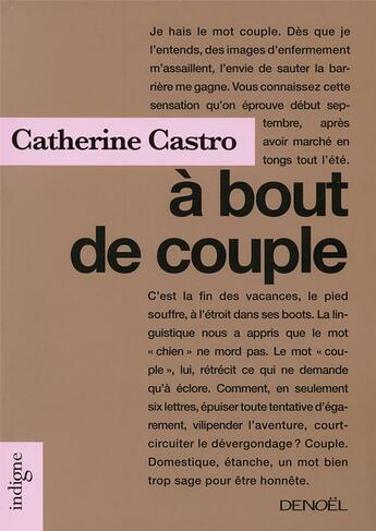 Couverture du livre « à bout de couple » de Catherine Castro aux éditions Denoel