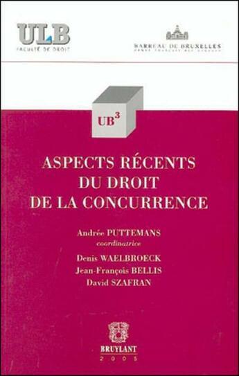 Couverture du livre « Aspects recents du droit de la concurrence » de Andree Puttemans aux éditions Bruylant