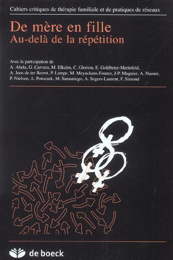 Couverture du livre « CAHIERS CRITIQUES DE THERAPIE FAMILIALE T.30 » de Collectif aux éditions De Boeck