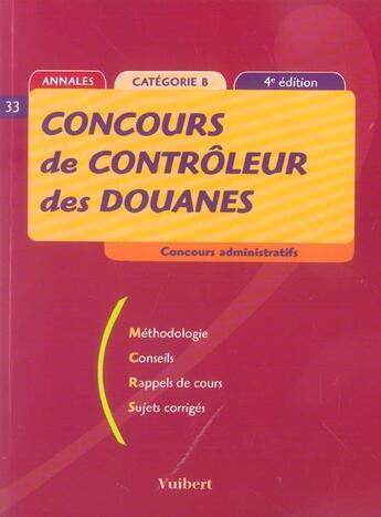 Couverture du livre « Concours De Controleur Des Douanes » de Juhel aux éditions Vuibert