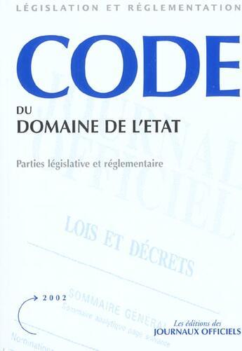 Couverture du livre « Code du domaine de l'etat » de Collectif aux éditions Documentation Francaise