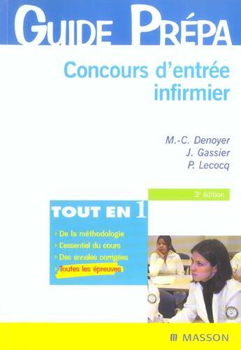 Couverture du livre « Concours D'Entree Infirmier » de Marie-Christine Denoyer et Gassier et Lecocq aux éditions Elsevier-masson