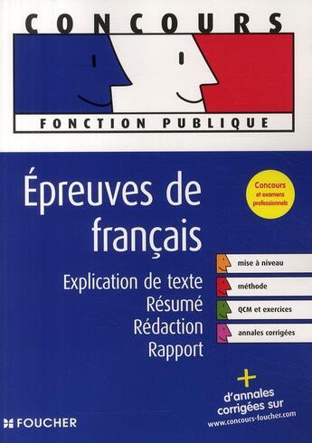 Couverture du livre « Concours fonction publique ; épreuve de français » de Thierry Marquetty aux éditions Foucher