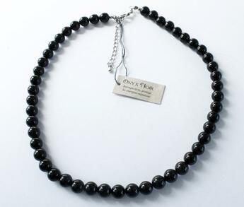 Couverture du livre « Collier onyx noir perles rondes 8 mm » de  aux éditions Dg-exodif
