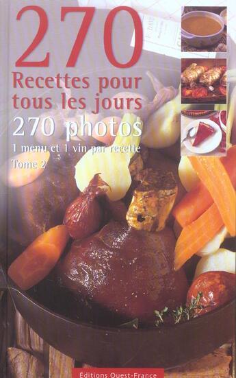 Couverture du livre « 270 Recettes Pour Tous Les Jours Tome 2 » de  aux éditions Ouest France