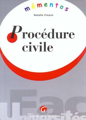 Couverture du livre « Memento procedure civile » de Natalie Fricero aux éditions Gualino