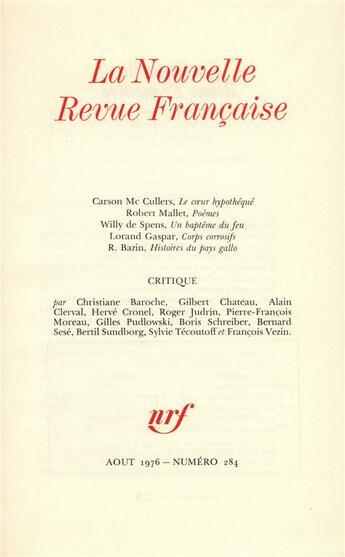 Couverture du livre « Août 1976 » de La Nouvelle Revue Francaise aux éditions Gallimard