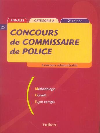 Couverture du livre « Concours De Commissaire De Police » de Collectif aux éditions Vuibert