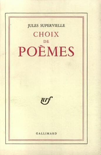 Couverture du livre « Choix De Poemes » de Jules Supervielle aux éditions Gallimard