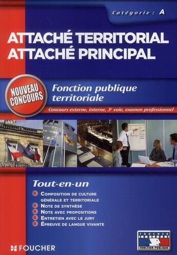 Couverture du livre « Attaché territorial ; attaché principal ; catégorie A » de Hardy-A-S aux éditions Foucher