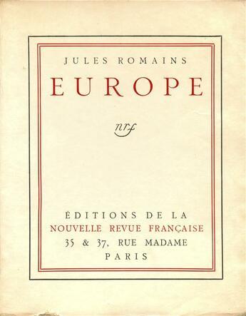 Couverture du livre « Europe » de Jules Romains aux éditions Gallimard