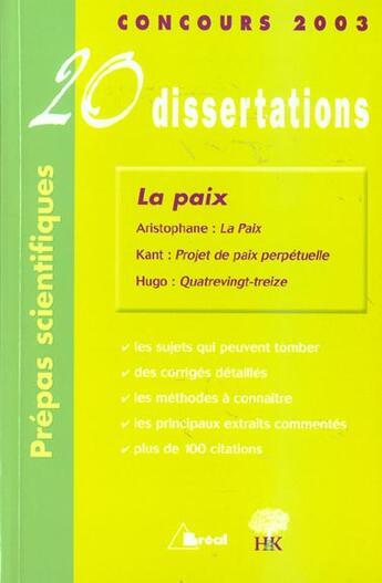 Couverture du livre « 20 Dissertations ; La Paix » de Bardet et Caron aux éditions Breal