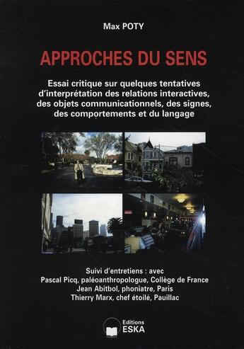 Couverture du livre « Approches du sens » de Max Poty aux éditions Eska