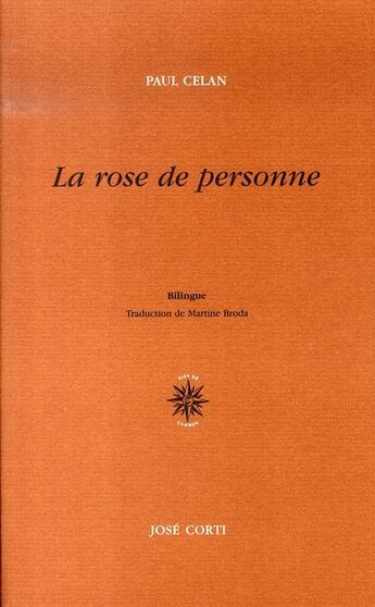 Couverture du livre « La rose de personne » de Paul Celan aux éditions Corti