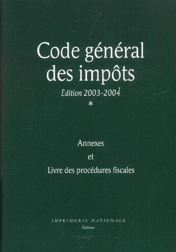 Couverture du livre « Code General Des Impots T.1 » de Collectif aux éditions Imprimerie Nationale