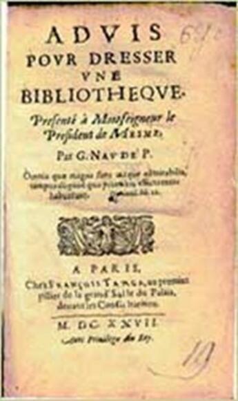 Couverture du livre « Advis pour dresser une bibliothèque » de Gabriel Naude aux éditions