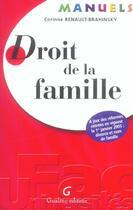Couverture du livre « Manuel de droit de la famille » de Renault-Brahinsky Co aux éditions Gualino