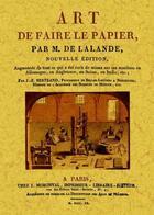 Couverture du livre « Art de faire le papier » de Joseph Jerome Lefrancois De Lalande aux éditions Maxtor