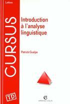 Couverture du livre « La Linguistique » de Guelpa aux éditions Armand Colin