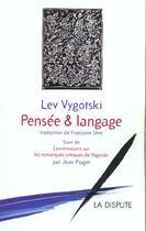 Couverture du livre « Pensee et langage (3e édition) » de Vygotski L S aux éditions Dispute