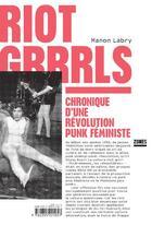 Couverture du livre « Riot grrrls » de Manon Labry aux éditions Zones