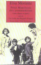 Couverture du livre « Petit manifeste des communistes » de Elsa Morante aux éditions Rivages