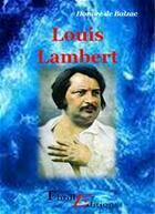 Couverture du livre « Louis Lambert » de Honoré De Balzac aux éditions Thriller Editions