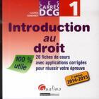 Couverture du livre « Carres dcg 1 - introduction au droit - 2eme edition » de Laetitia Simonet aux éditions Gualino