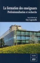 Couverture du livre « Formation des enseignants » de Guy Lapostolle aux éditions Pu De Dijon