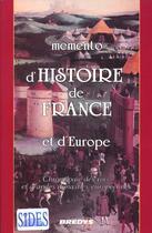 Couverture du livre « Memento D'Histoire De France Et D'Europe » de Jean Berra aux éditions Sides