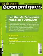 Couverture du livre « Problemes Economiques T.2910 ; Bilan De L'Economie Mondiale : 2005/2006 » de Problemes Economiques aux éditions Documentation Francaise